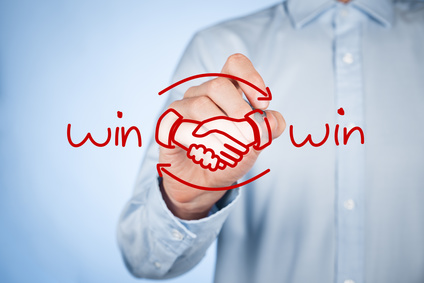 Win-win partnership strategy concept. Businessman draw win-win scheme and handshake partnership agreement.